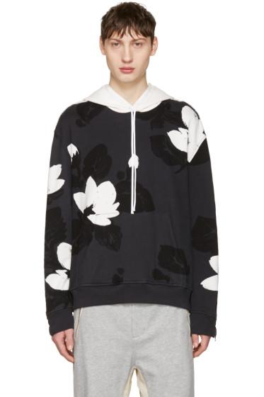 3.1 Phillip Lim - Black Zip Sleeve Floral Hoodie