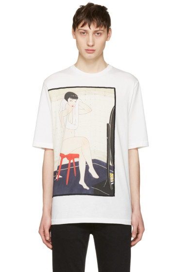 3.1 Phillip Lim - White Woman on Stool T-Shirt
