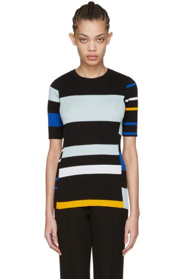 Proenza Schouler - Black Striped Short Sleeve Pullover