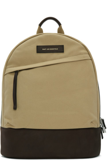 Want Les Essentiels - Beige Canvas Kastrup Backpack