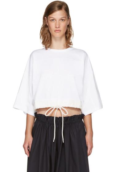 Chloé - White Drawstring Cropped T-Shirt