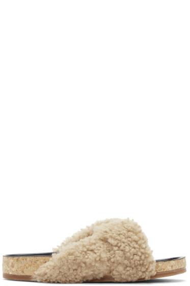 Chloé - Beige Shearling Kerenn Sandals