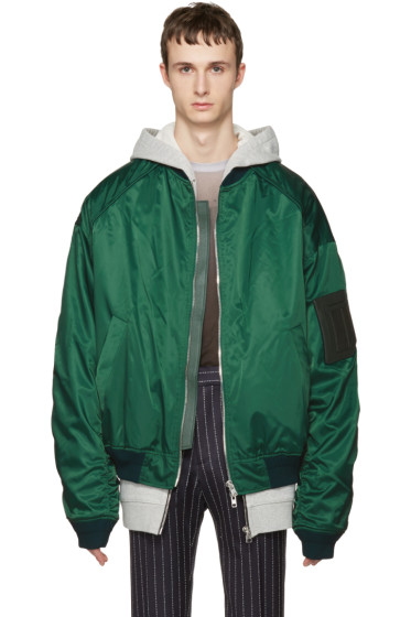 Juun.J - Green Oversized Bomber Jacket