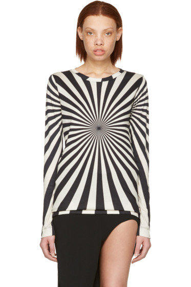 Gareth Pugh - Black & Beige Printed Long Sleeve T-Shirt