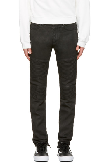 Neil Barrett - Black Waxed Denim  Biker Jeans