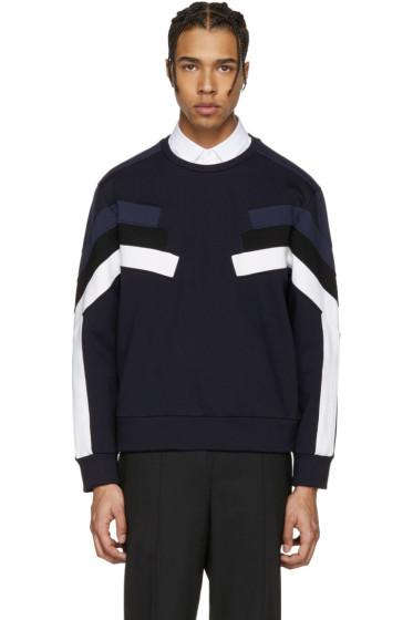 Neil Barrett - Navy Panelled Modernist Retro Pullover