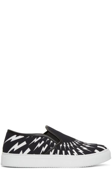 Neil Barrett - Black & White Thunderbolt Slip-On Sneakers