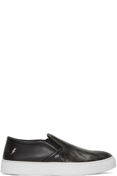 Neil Barrett - Black Leather Thunderbolt Slip-On Sneakers