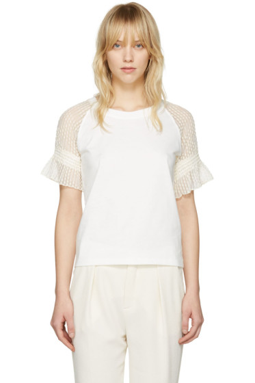 See by Chloé - Off-White Lace Sleeve T-Shirt