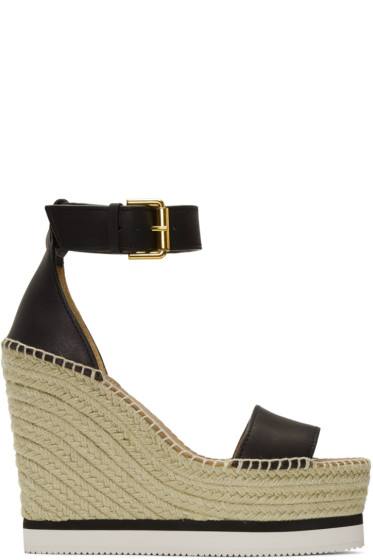 See by Chloé - Black Wedge Espadrilles