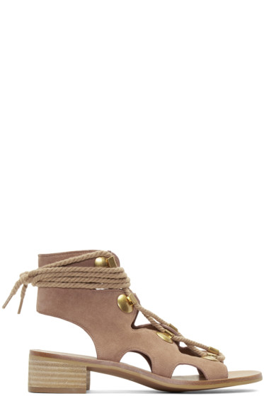 See by Chloé - Beige Suede Lace-Up Sandals