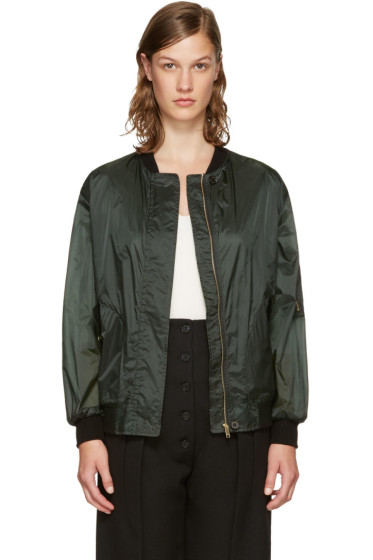 Burberry - Green Lightweight Bomber Jacket