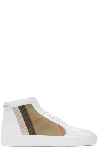 Burberry - White Salmond Check High-Top Sneakers