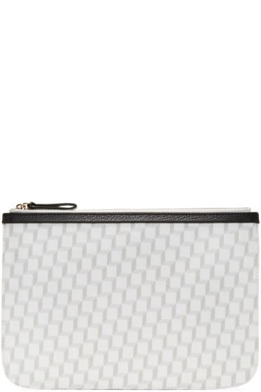 Pierre Hardy - White & Grey Perspective Cube Zip Pouch
