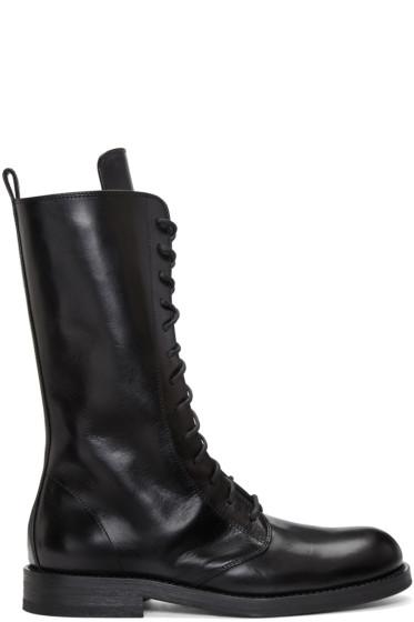 Ann Demeulemeester - Black Long Lace-Up Boots