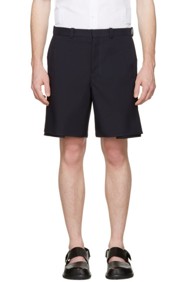 Marni - Navy Pleated Velcro Shorts
