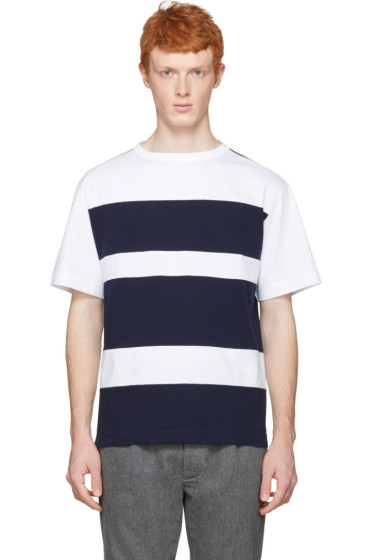 Marni - White & Navy Wide Stripes T-Shirt