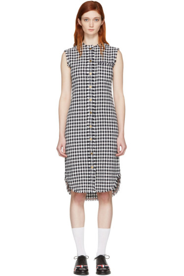 Thom Browne - Navy Gingham Tweed Shirt Dress