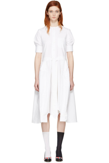 Thom Browne - White Crewneck Neck Tie Belt Shirt Dress