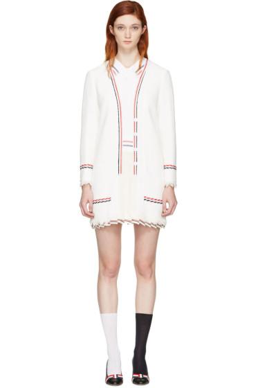 Thom Browne - White Selvedge Tweed Trompe L'Oeil Polo Dress