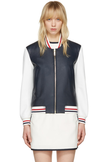 Thom Browne - Navy Floral Anchor Varsity Jacket