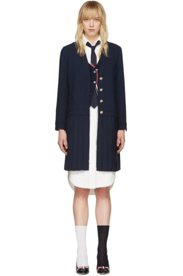 Thom Browne - Navy Long Pleated Jacket