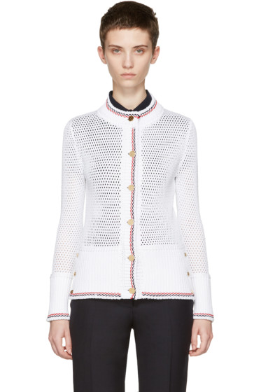 Thom Browne - White Mesh Stitch Crewneck Cardigan