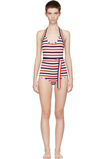 Thom Browne - Tricolor Striped Halter Swimsuit