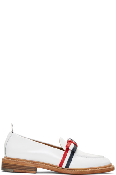 Thom Browne - White Bow Loafers