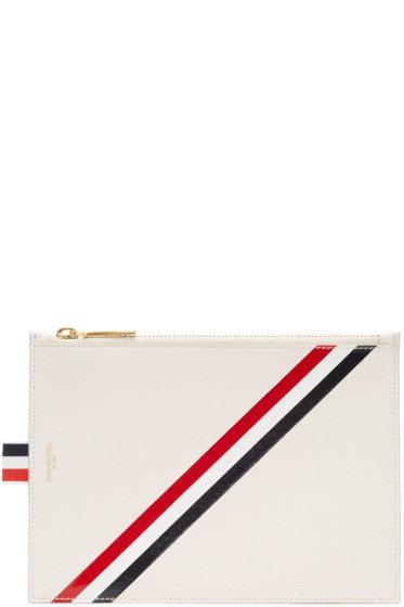 Thom Browne - Off-White Large Diagonal Stripe Coin Purse