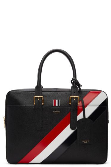 Thom Browne - Black Diagonal Stripe Business Briefcase