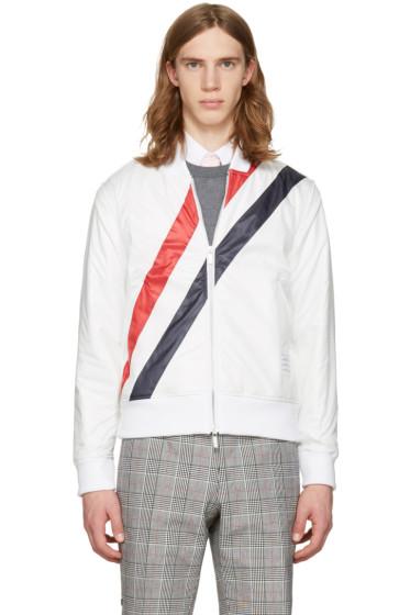 Thom Browne - White Three Stripes Bomber Jacket