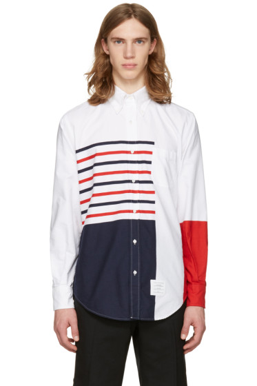 Thom Browne - White Painted Stripes Classic Shirt