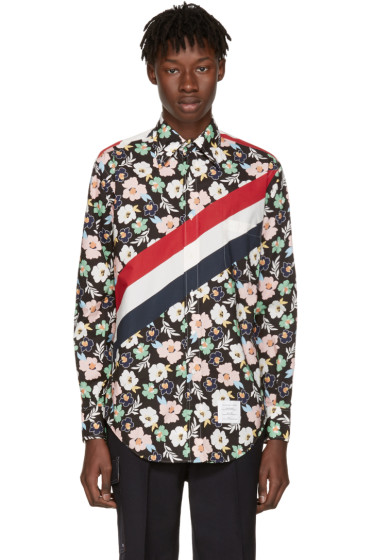 Thom Browne - Multicolor Classic Stripes & Floral Outline Shirt