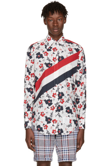 Thom Browne - Tricolor Classic Stripes & Floral Outline Shirt