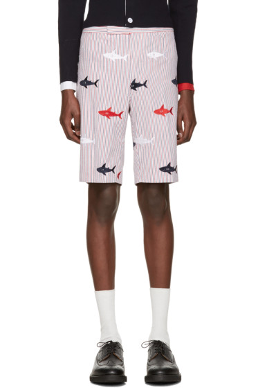 Thom Browne - Tricolor Classic Striped Shark Backstrap Shorts