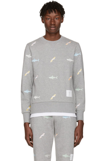 Thom Browne - Grey Shark & Surfboard Pullover