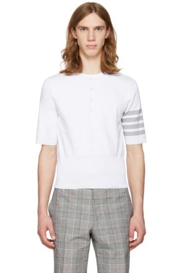 Thom Browne - White Trompe l'Oeil Four Bar T-Shirt