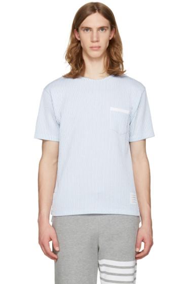 Thom Browne - Blue Striped Pocket T-Shirt