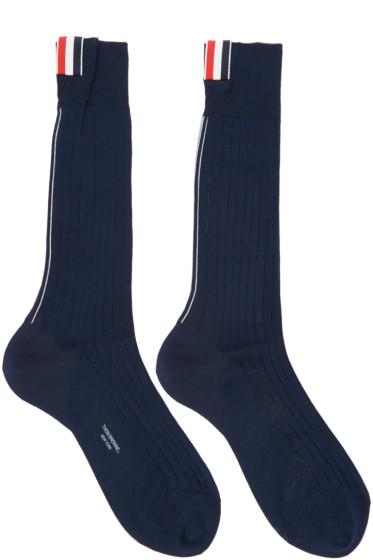 Thom Browne - Navy Striped Socks