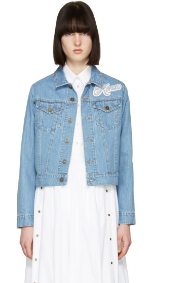 Kenzo - Blue Bleached Denim Logo Jacket