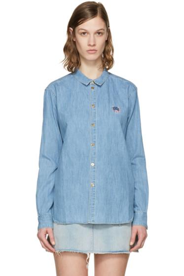Kenzo - Blue Denim Tiger Crest Shirt