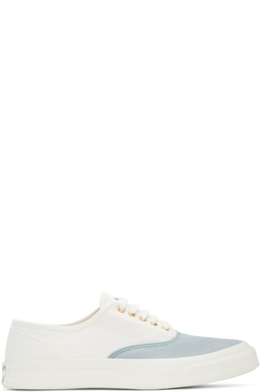 Maison Kitsuné - White & Blue Canvas Sneakers