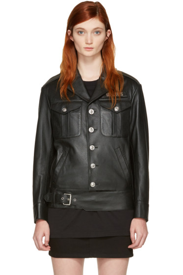 Versus - Black Leather Logo Patch Jacket