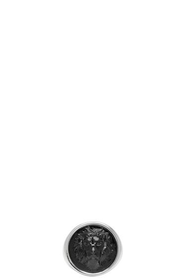 Versus - Silver & Black Round Lion Ring