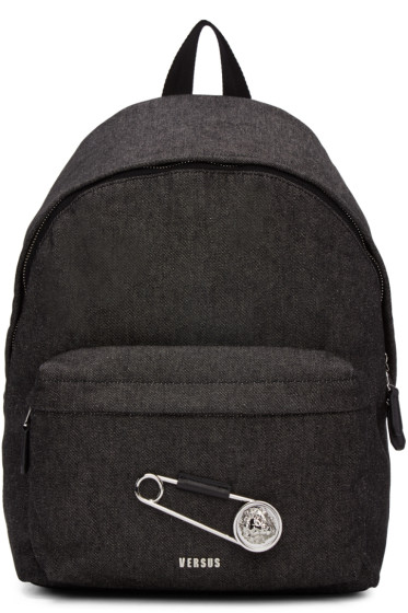 Versus - Black Large Safety Pin Backpack