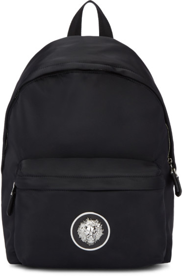 Versus - Black Nylon Lion Backpack