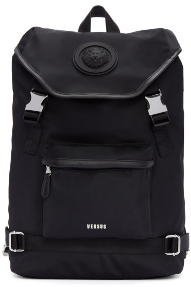 Versus - Black Nylon Buckled Backpack
