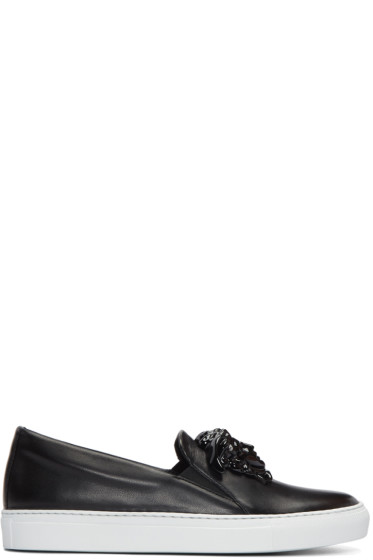 Versace - Black Leather Medusa Slip-On Sneakers