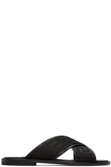 Versace - Black Cross Strap Sandals